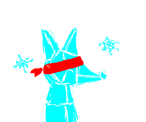 ice fox thing whith bandana over its eyes