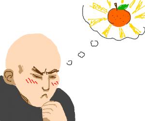 Man thinking about Orange
