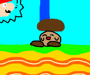 Mario stepping on a happy brown kirby
