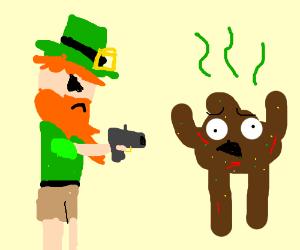 leprechaun threatens poop man with a gun