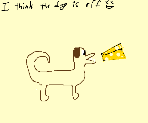 dog eating cheese