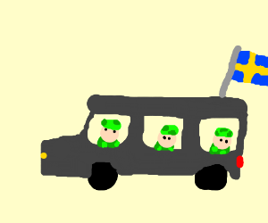 3 swedish soliders driving a car