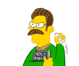 Flanders is angry, holding bible and wiimote