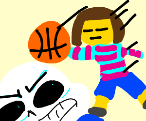 Sans is gettin dunked on