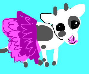 Cow In Pink Frilly Dress