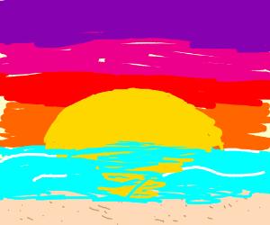 warm sunset on the beach shore
