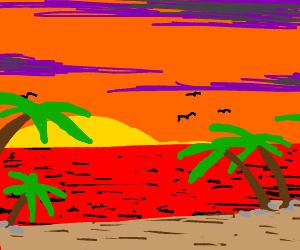 view of sunset from a tropical island