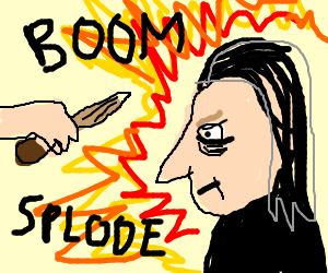 Professor Snape, blasted by explosion
