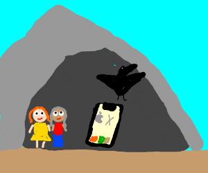Two girls, a raven, and an iPhone X in a cave
