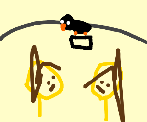 2 girls given a phone by a crow inside a cave
