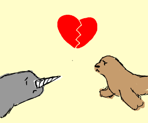 Heartbreak between seal and narwhal