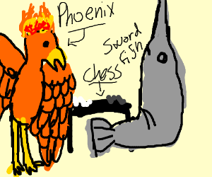 Phoenix playing chess with Marlin (swordfish)