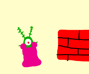 Plankton next to bricks is a pretty princess