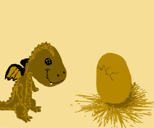Happy little dragon waits for baby sibling to hatch