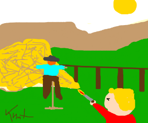A boy shoot a scarecrow in front of a haystack