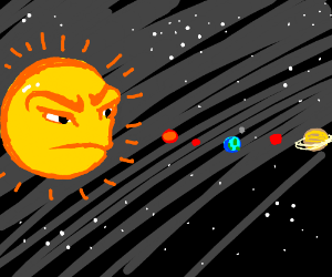 space with super angry sun