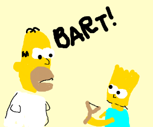 Homer is annoyed at Bart and his slingshot