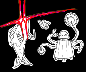 fish having fight with robot laser vision fish