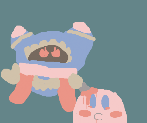 Magolor stabs Kirby in the head