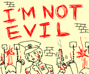 """""""I'm not evil"""" says woman covered in blood."""