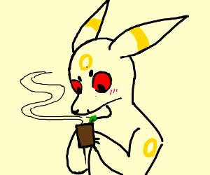 Umbreon drinks tea