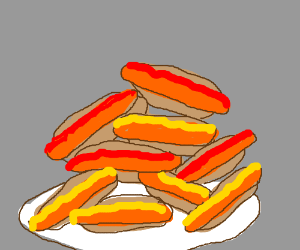 A pile of hotdogs