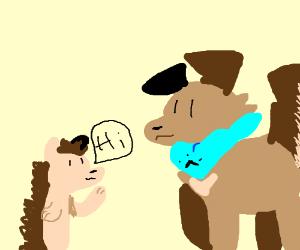 doggo meets a hedgehoggo