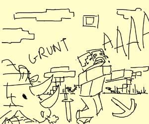 MINECRAFT STEVE RUNNING FROM A RHINO