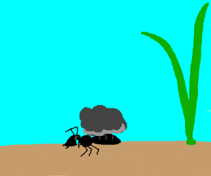 Sad ant carrying a gray cloud