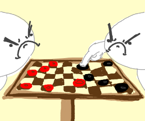 People angrily playing checkers