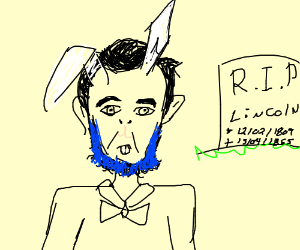 bunny lincoln with blue beard visits grave