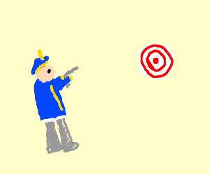 Confederates shoot a target