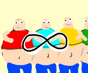 a near-infinite number of identical fat guys