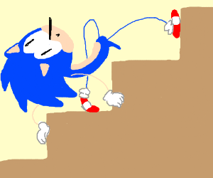 Sonic going up the stairs
