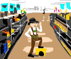 Yodelling boy in Walmart with music notes