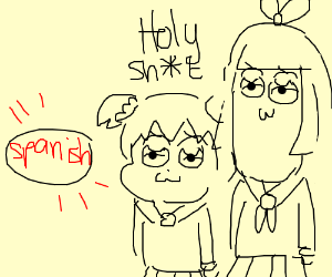 Two anime characters are suprised abt spanish