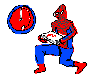 Spider man's 30 min or less pizza delivery