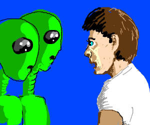 man staring at two staring aliens