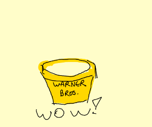 A yellow pot that says Warner Bros.