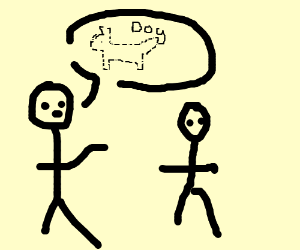 people talking about a imaginary line dog