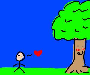 boy flirts with tree