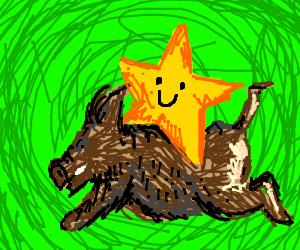 Star riding a pig