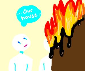 A couple watchibg their house melt