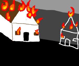 A house s on fire