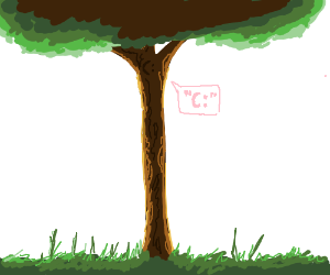 "Very long tree with a "" c: "" face"