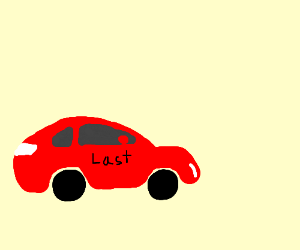 red car that says last