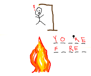 Hangman falling into fire