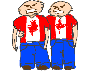 Two angry guys wearing Canada flag shirts