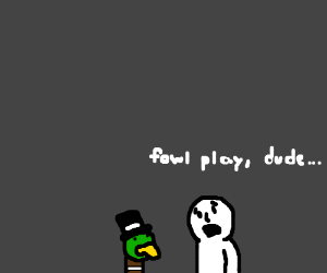 Man is sad about duck in tophat