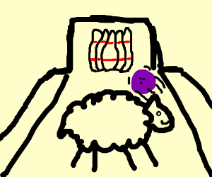 A sheep in the middle of a bowling lane